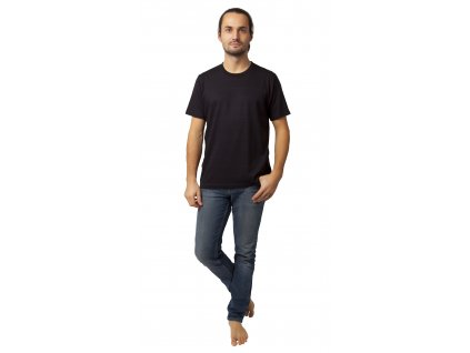 Pánské triko CALVI 20-073 - černé, jemný proužek