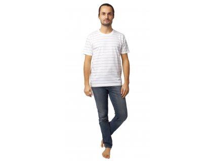 Pánské triko CALVI 20-073 - bílé, jemný proužek