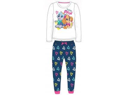 Dívčí pyžamo TLAPKOVÁ PATROLA  52041531 - bílá/tm. modrá