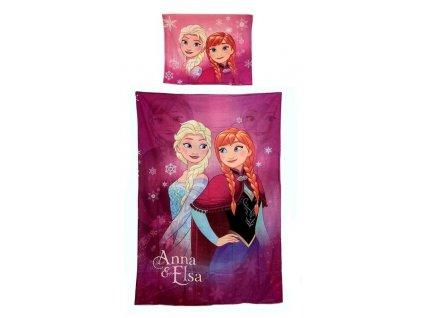 Povlečení bavlna FROZEN 710-149 - Anna+Elsa/růžové
