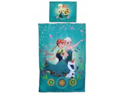 Povlečení bavlna FROZEN 710-216 - Anna+Elsa+Olaf/tyrkys