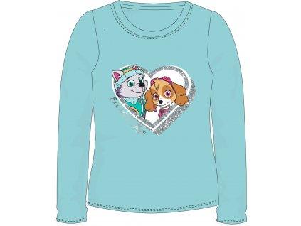 Dívčí triko TLAPKOVÁ PATROLA  52021460 - dlouhý rukáv/světlý tyrkys