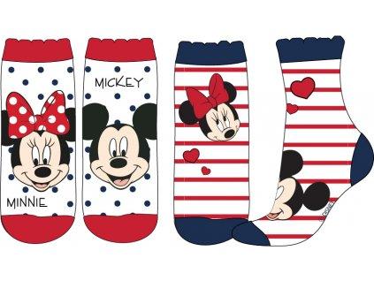 Dívčí ponožky MINNIE a MICKEY 2pack 52347301 - bílá/červená