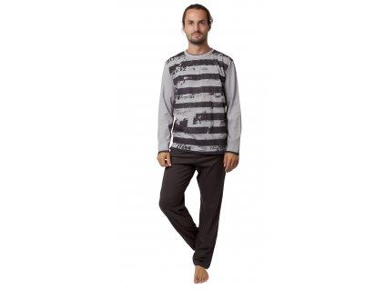 Pánské pyžamo CALVI 19-545 - šedohnědé (Velikost XXL)