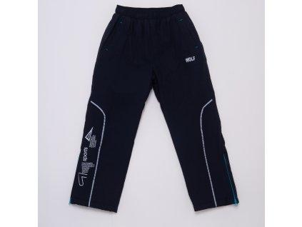 Dětské šusťákové kalhoty s flísem WOLF B2974 - tm. modré (Velikost 128)