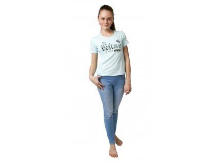 Dívčí triko CALVI 19-015 - sv. zelinkavé (Velikost 160)