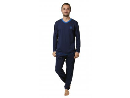 Pánské pyžamo CALVI 19-096 - tm. modré (Velikost XL)
