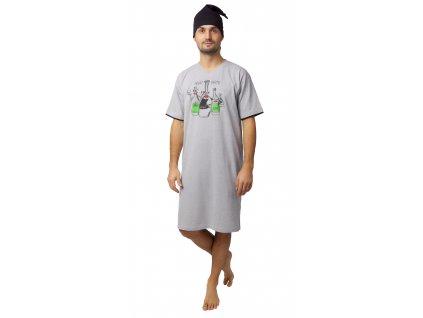 Pánská noční košile CALVI 20-115 - šedá
