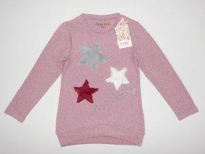 Dívčí úpletové triko KUGO S3062 - růžový melír (Velikost 146)
