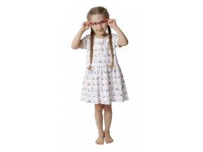Dívčí šaty CALVI 18-110 - bílé s potiskem