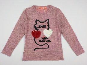Dívčí úpletové triko GRACE G80949 - růžové, kočka (Velikost 98/104)