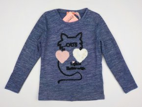 Dívčí úpletové triko GRACE G80949 - modré, kočka (Velikost 98/104)