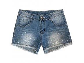 Dívčí riflové šortky KUGO S3233 - modré (Velikost 158/164)