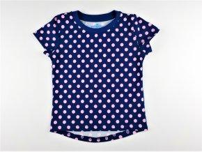 Dívčí triko Dantony - tm. modré, růžový puntík (Velikost 92)