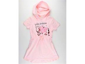 Dívčí šaty KUGO ML-7183 - sv. růžové (Velikost 146)
