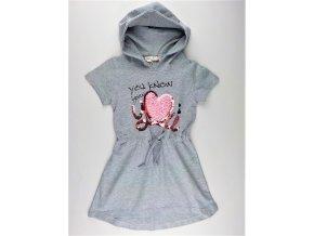 Dívčí šaty KUGO ML-7183 - šedý melír (Velikost 146)