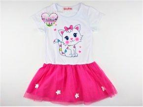 Dívčí šaty Glass Bear 8P-7263 - růžové (Velikost 128)