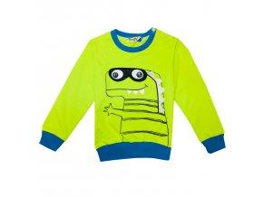 Chlapecké triko-mikina KUGO M0229 - zelenožluté (Velikost 110)