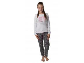 Dívčí pyžamo Calvi 19-480 - šedé, kočka (Velikost 170)