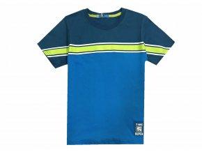 Chlapecké triko KUGO ML-7160 - modré, žlutý pruh (Velikost 146)