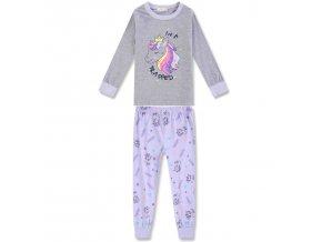 Dívčí pyžamo KUGO MP-1246 - šedá-fialová (Velikost 128)