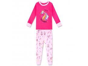 Dívčí pyžamo KUGO MP-1246 - tm. růžové (Velikost 128)