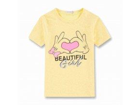 Dívčí triko KUGO KT9868 - žluté, obrázek ve tmě svítí (Velikost 164)