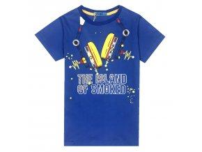 Chlapecké triko KUGO XC2707 - modré, nápis ve tmě svítí (Velikost 146)