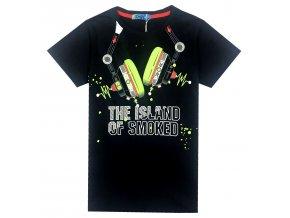 Chlapecké triko KUGO XC2707 - tm. modré, nápis ve tmě svítí (Velikost 146)