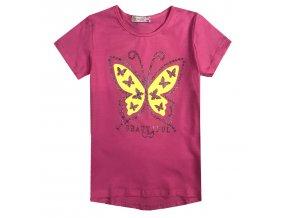 Dívčí triko KUGO KT9866 - růžové, motýl ve tmě svítí (Velikost 146)