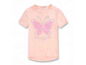 Dívčí triko KUGO KT9866 - sv. meruňková, motýl ve tmě svítí (Velikost 146)