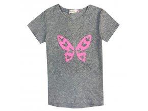 Dívčí triko KUGO KT9866 - šedé, motýl ve tmě svítí (Velikost 146)