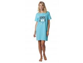 Dámská noční košile CALVI 19-498 - tyrkysová (Velikost XXL)