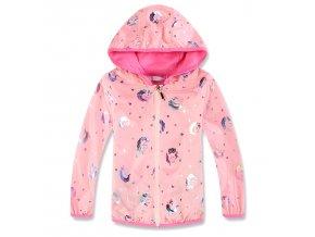 Dívčí šusťáková bunda KUGO KB9859 - sv. růžová (Velikost 128)