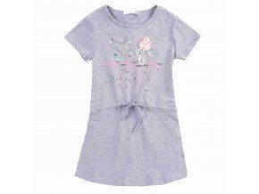 Dívčí šaty KUGO WT9308 - šedý melír (Velikost 158/164)