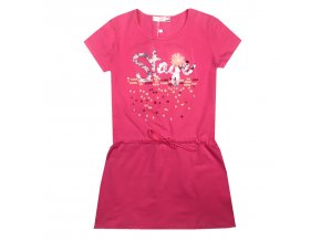 Dívčí šaty KUGO WT9308 - růžové (Velikost 158/164)