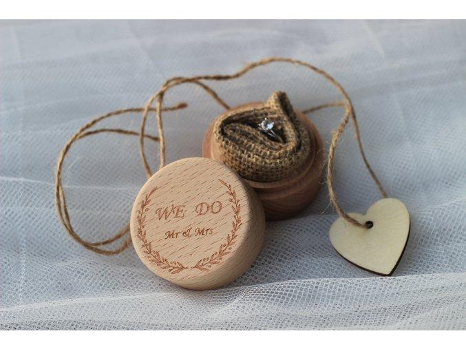 Krabička na prsteny kulatá s nápisem