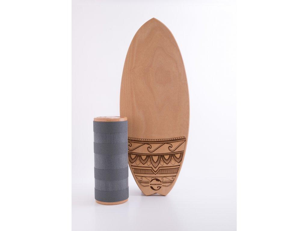 Balanční deska Woodboards Surf - komplet  Balance board, který si zamilujete díky skvělému surf tvaru a kvalitnímu zpracování