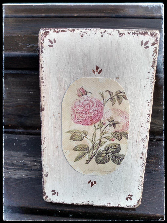 drevený obrázok maľovaný s ružou
