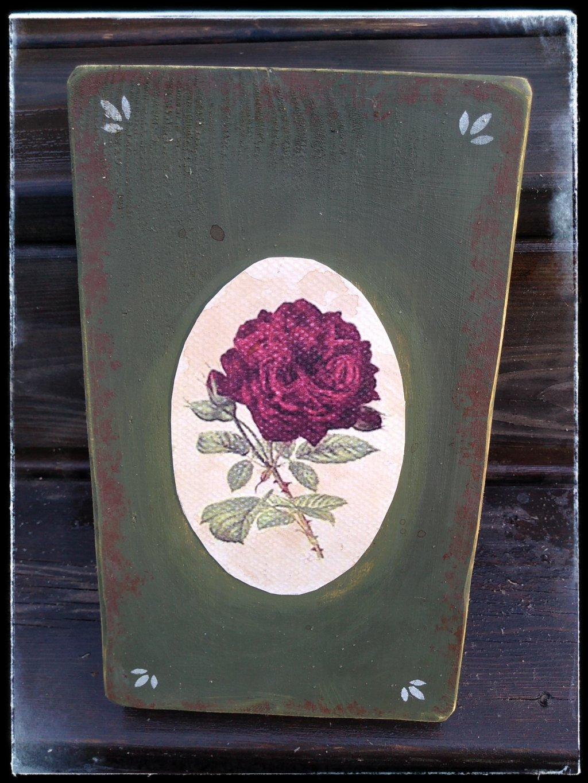 Vidiecky obrázok zelený s ružou
