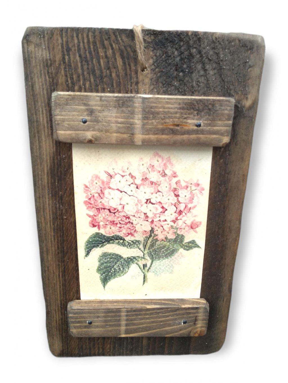 drevený obrázok ružová hortenzia