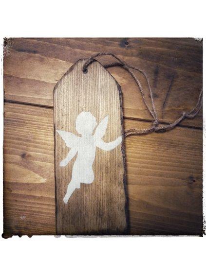 drevená etiketa s anjelom
