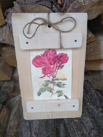 Drevený obrázok s ružičkami