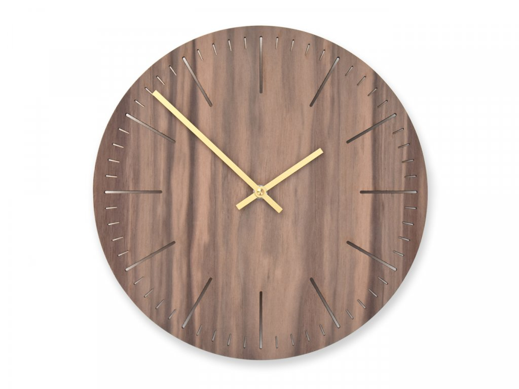 Dřevěné hodiny Wooden Moment Line Ořech