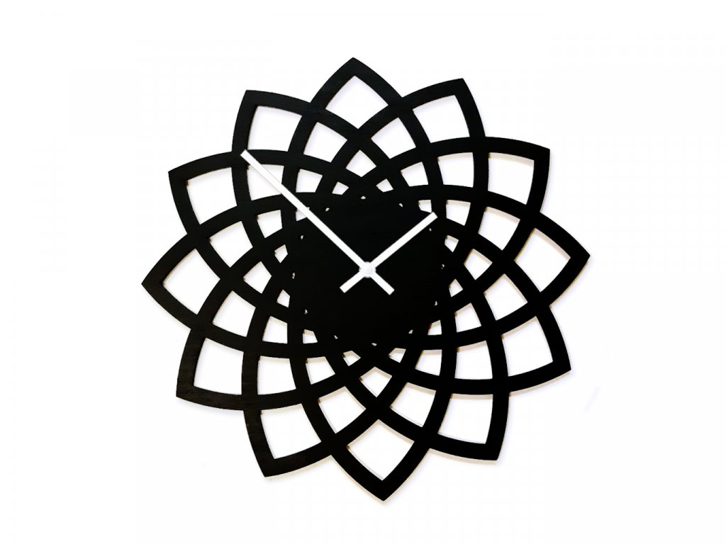 Dřevěné hodiny Wooden Moment Flower black, bílé ručky