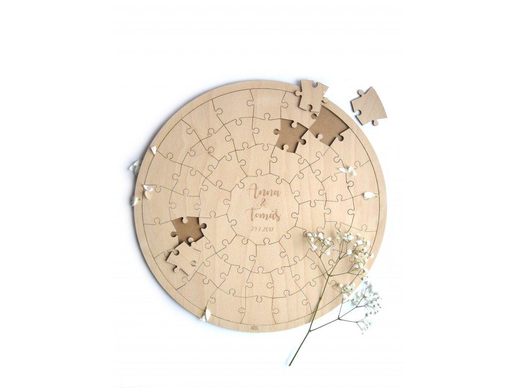 Dřevěné svatební puzzle
