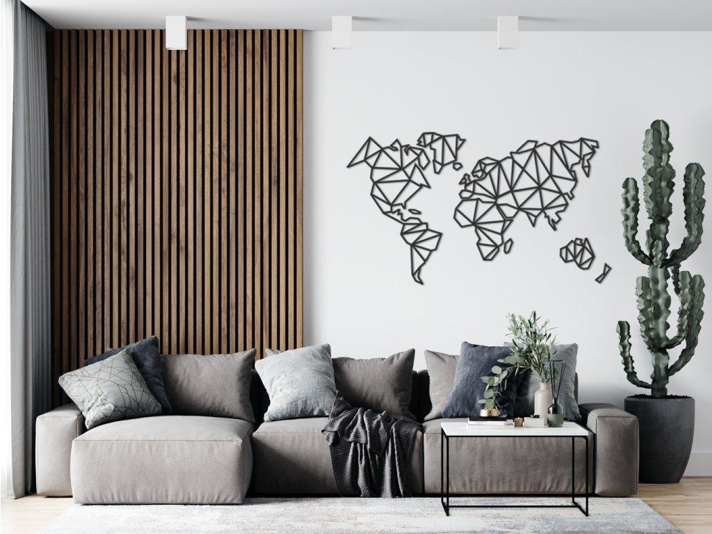 Dřevěná mapa Polygon Black - Wooden moment