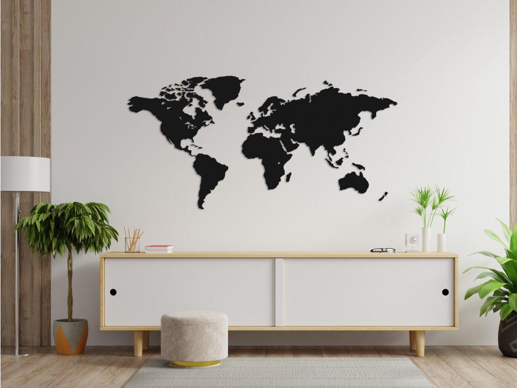 Dřevěná mapa Continents Black - Wooden moment