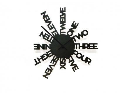 Dřevěné hodiny Wooden Moment Text Black, černé ručičky