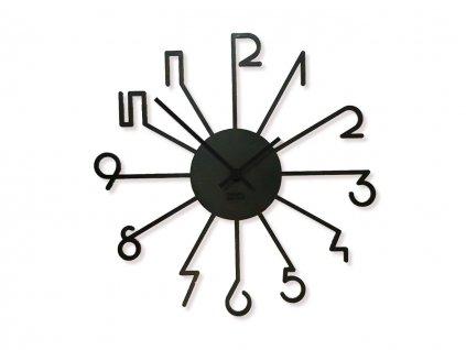 Dřevěné hodiny Wooden Moment Beams Black, černé ručičky